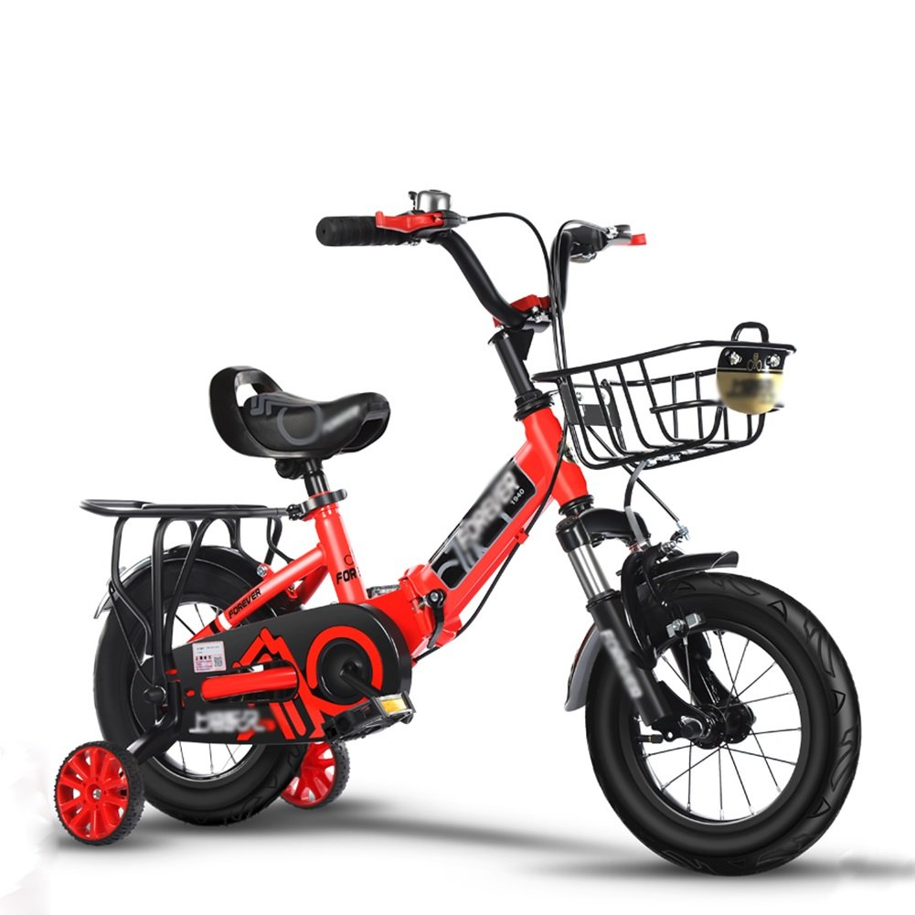 子供の自転車の男の子のベビーカー折りたたみ衝撃吸収自転車の女の子の赤ちゃんのペダル3-10歳のピンクブルーシルバーレッド B07DV2PJSK 14 inch|赤 赤 14 inch