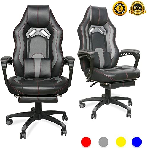 LUCKWIND Video Gaming Chair Racing Recliner – Ergonomic Adjustable Padded Armrest Swivel High Back Footrest with Headrest Lumbar Support Leather Breathable Bucket Seat Home Office Desk Black Grey
