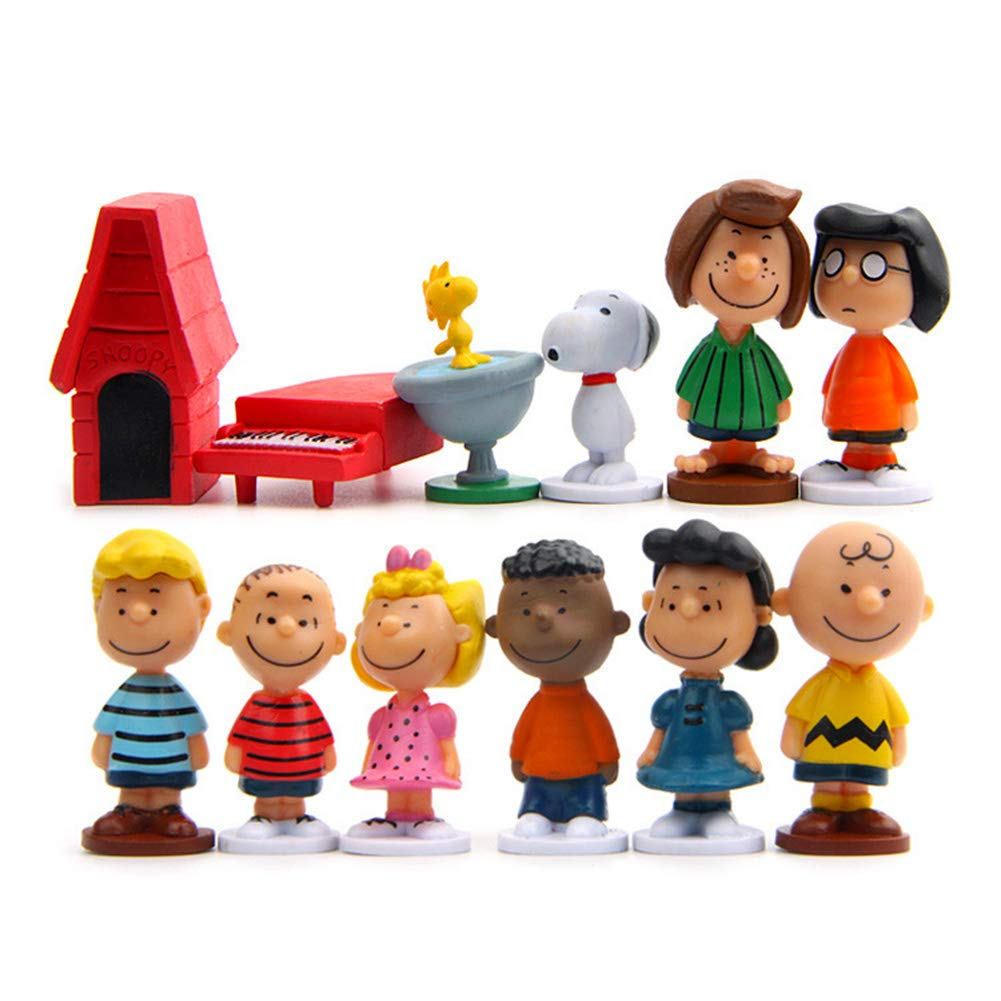 Peanuts Movie Classic Characters Toy Figure, Cake Toppers Set of 12 with Snoopy, Woodstock, Dog House, Linus, Charlie and More Party Decorations by TOYFORU