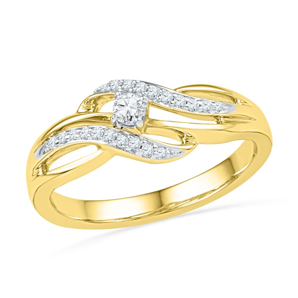 10K Yellow Gold And Diamonds Crossover Promise Ring For Women ( 0.15 CTTW)