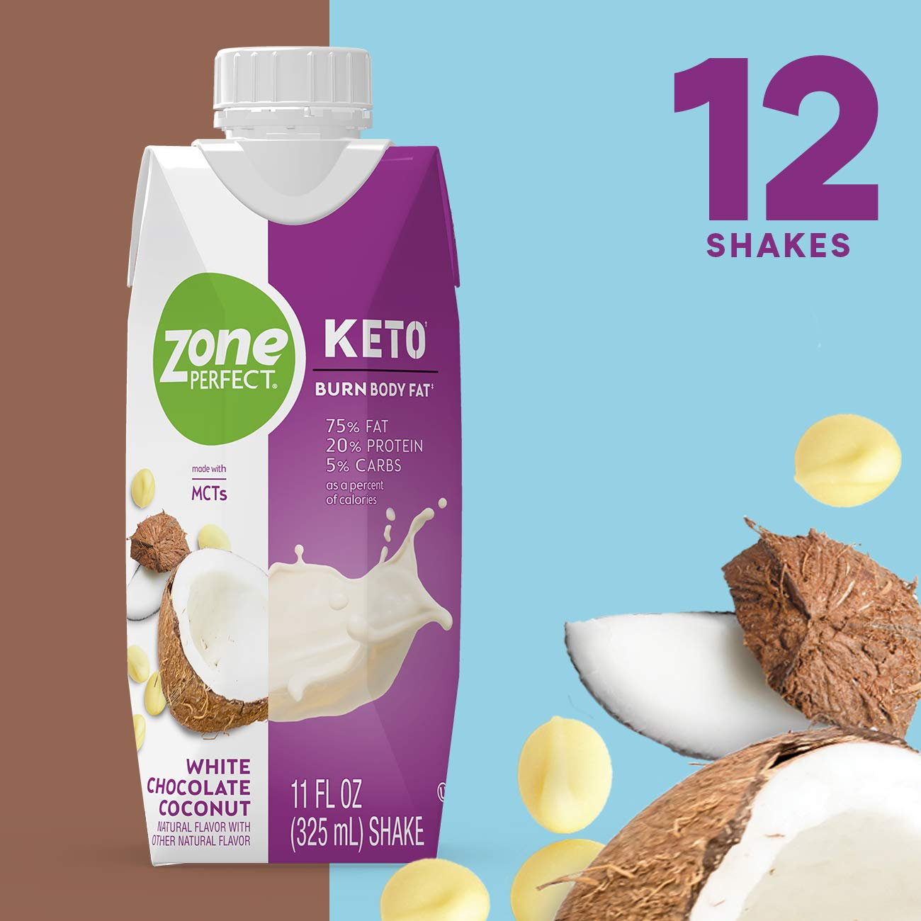 ZonePerfect Keto Shake, White Chocolate Coconut Flavor, True Keto Macros, Made With MCTs, 11 fl oz, 12Count by ZonePerfect KETO