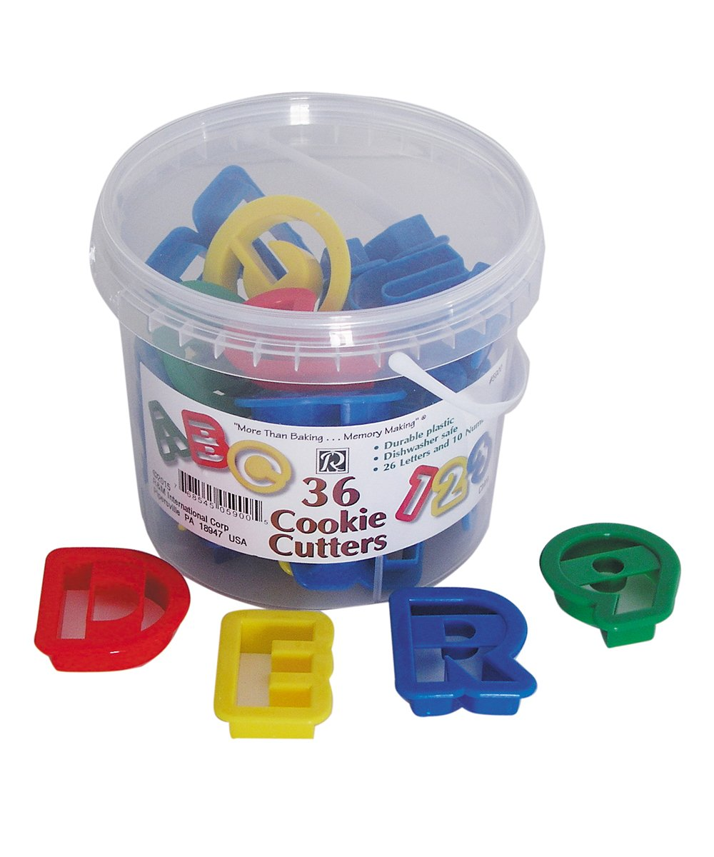 R&M International 5900 Alphabet and Number 1.5'' Cookie Cutters, 36-Piece Bucket