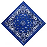 Drawingo 5555Cm Hip Hop Cotton Paisley Bandanas Head Wrap Black Red White Etc 10 Colors Scarves Blue