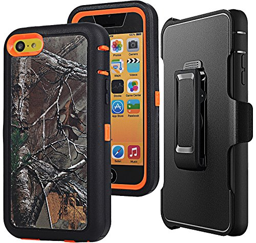 iPhone 5c Camo Case with Clip,Auker Defender Series Heavy Duty Shockproof Water Impact Resistant Rugged Built-in Screen Protective Cover Skin with Holster & Kickstand for iPhone 5c (Xtra Orange) (Case Orange Protective 5c Iphone)