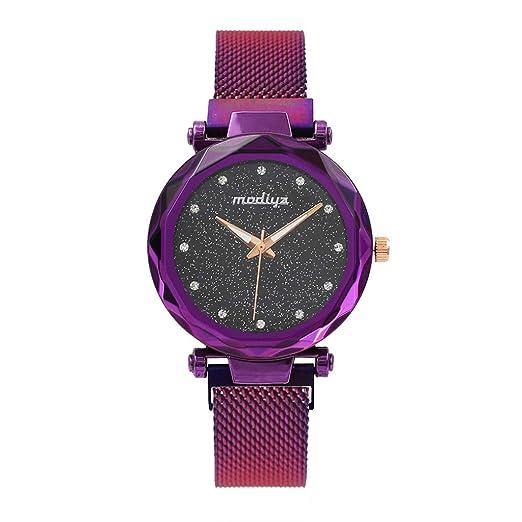 Reloj de Cuarzo,BBestseller Reloj de Pulsera de Mujer Cinturón de Malla Moda Pulsera Actividad Relojes Deportivos Watch (Púrpura): Amazon.es: Relojes