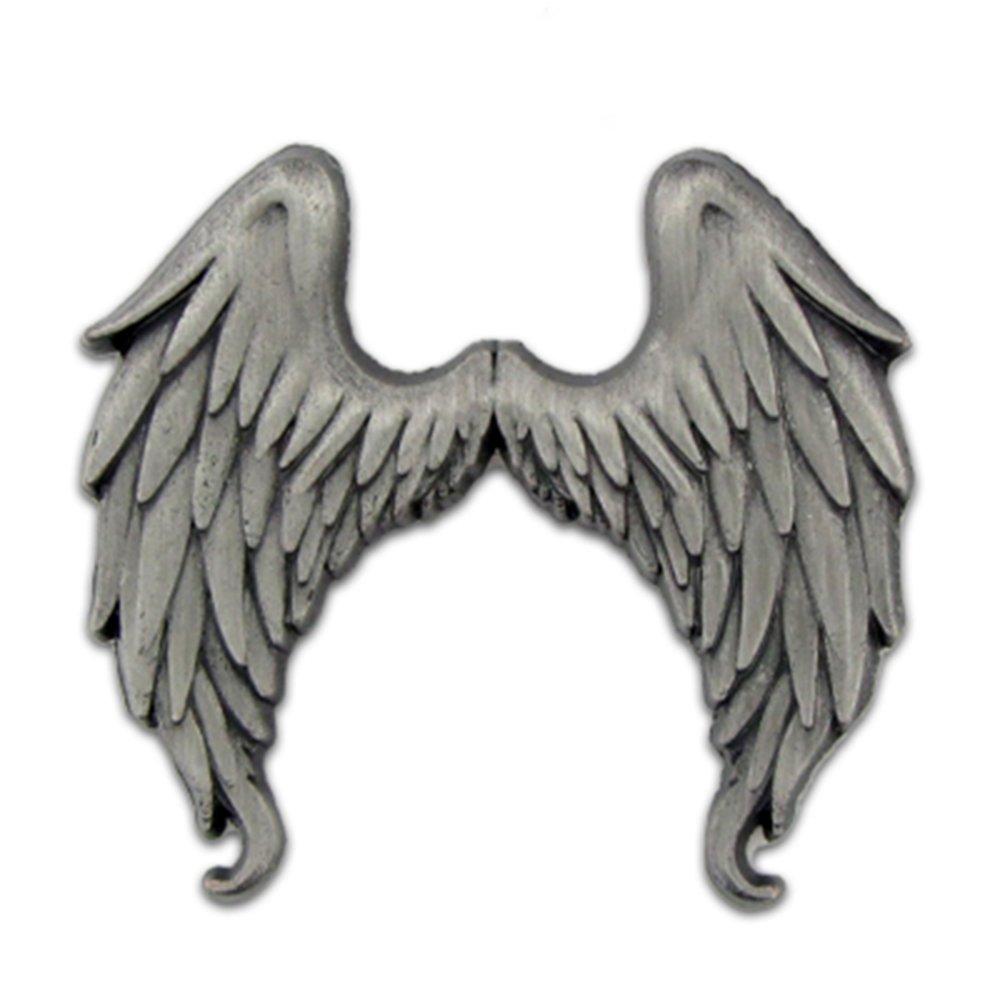 PinMart's Antique Silver Flying Angel Wings Lapel Pin