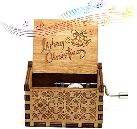 Womdee Music Box Merry Christmas Theme, Manual De Caja De Música Clásica De Madera con Manivela, Mecanismo De 18 Notas Caja De Música Antigua Tallada.: Amazon.es: Hogar