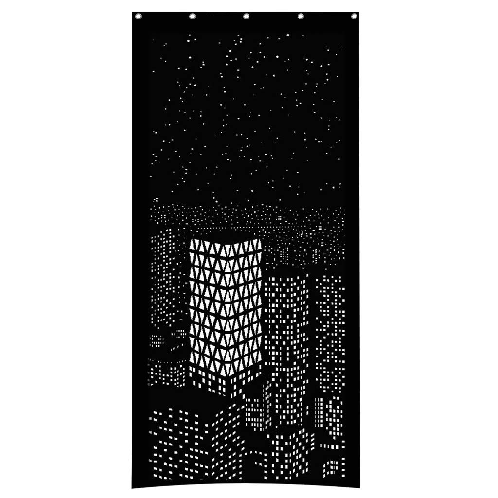 Euone Blackout HoleRoll Curtains with Holes Incredible City Designs Curtain Bedroom C