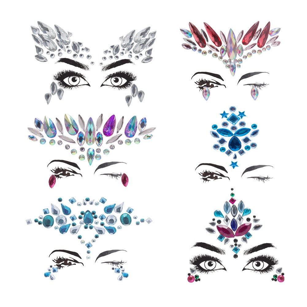 Amariver 6 Sheet Face Bling Stickers, Self-Adhesive Rhinestone Sticker Gems, Multi-Color Bling Craft Jewelrys Crystal Gems Stickers, Assorted Size and Multi-Shapes