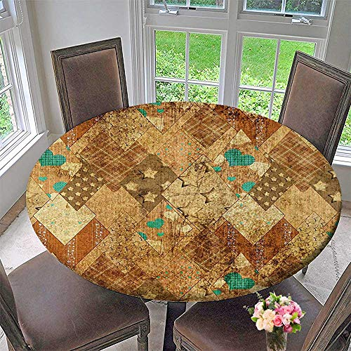 Santorini Quilt - Elasticized Table Cover Murky Triangle Formed Patchwork Quilt Motif Green Sand Brown Machine Washable 31.5