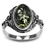 Amazon Price History for:Sterling Silver Green Yellow Amber Oval Ring