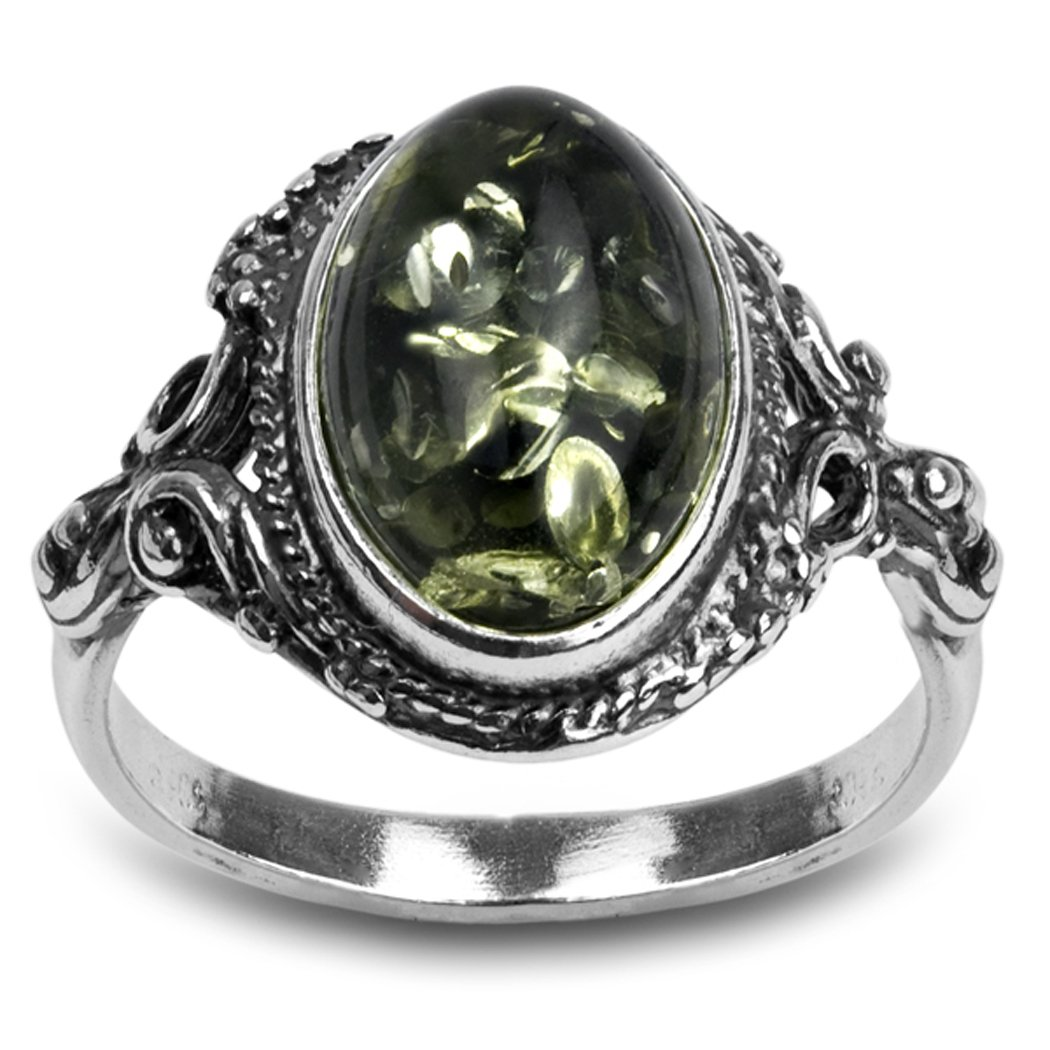Sterling Silver Green Yellow Amber Oval Ring Amber by Graciana 09532