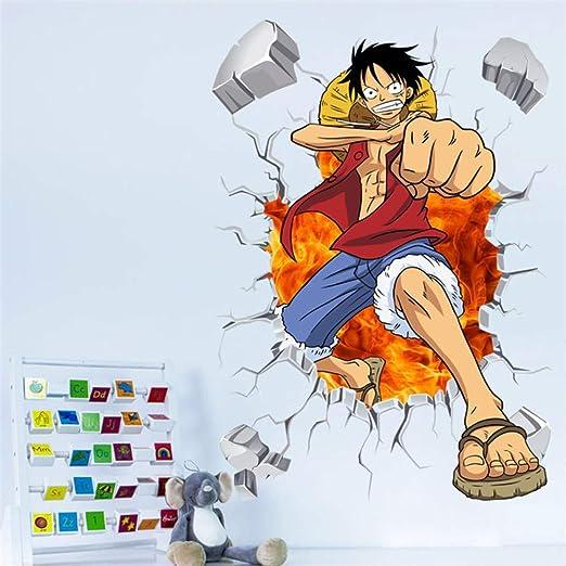 Cartoon One Piece Posters Anime Luffy efecto 3d pegatinas de pared ...