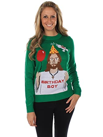 Amazon.com: Women's Ugly Christmas Sweater - Happy Birthday Jesus ...