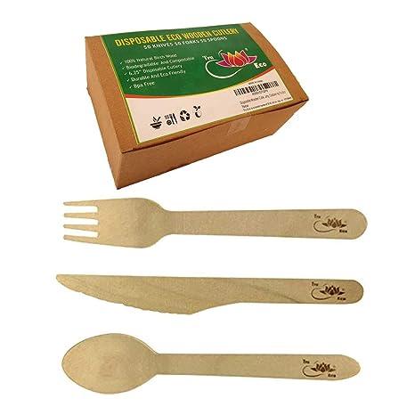 Juego de cubiertos desechables de madera (150 unidades), cuchillos, tenedores, cucharas, utensilios resistentes y ecológicos, libre de BPA, ...