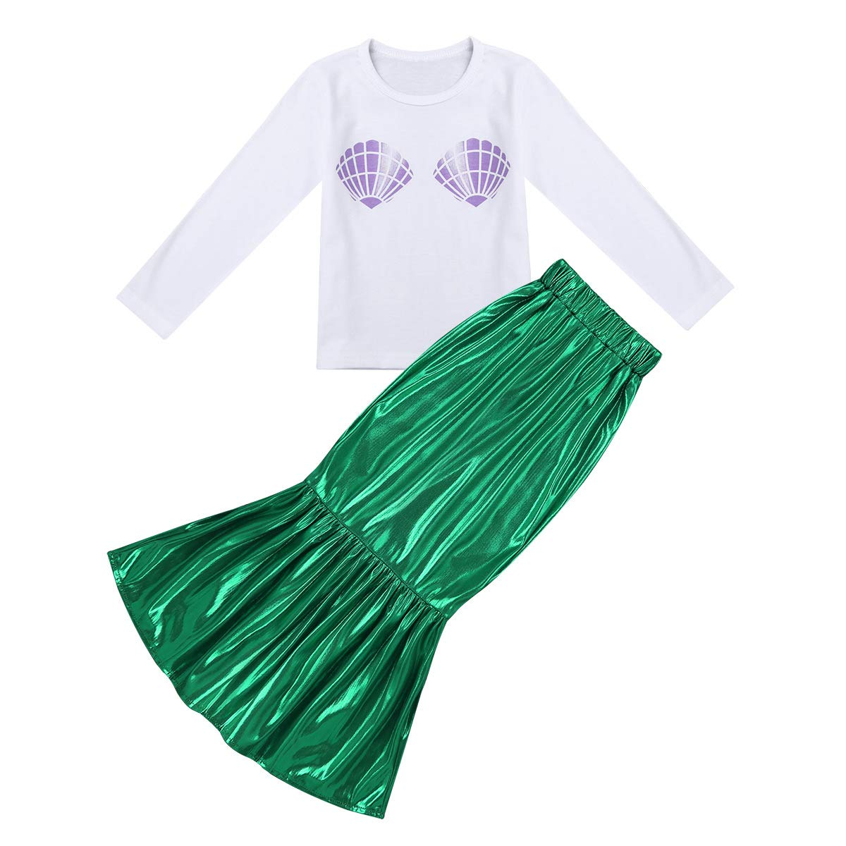 2cb3cfb9226b Amazon.com: TiaoBug 2pcs Little Girls Mermaid Skirt + Shell T-Shirt Outfit  Halloween Party Cosplay Dress up Costumes: Clothing