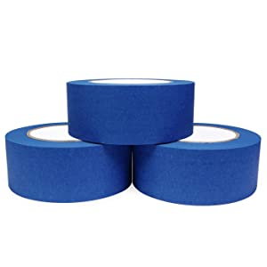Bligo Blue Painters Tape, Medium Adhesive, for Masking, Painting, Painter's Supplies Bulk, Prevent Paint Bleed, 1.88 Inch x 60 Yard, 3 Rolls