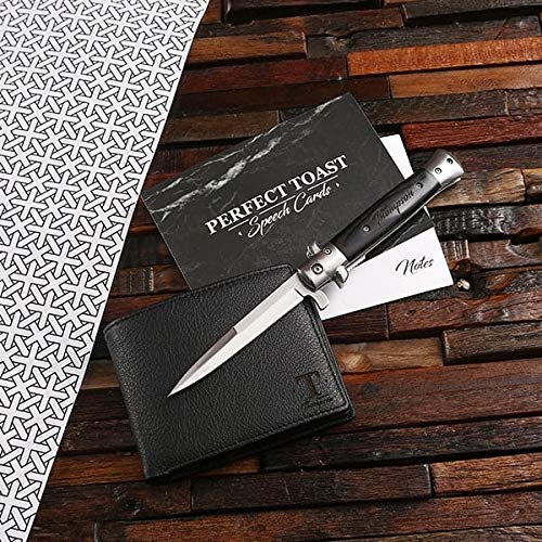 Bespoke Men's Leather Wallet and Switchblade Knife with Wooden Box Gift Set