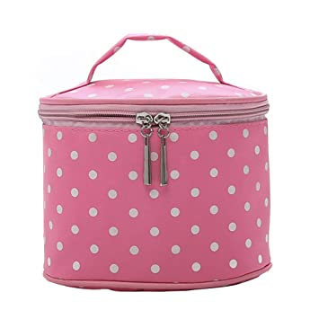 Amazon.com   Thanksgiving Christmas gift-Vintage Nylon Polka Dot Round  Cosmetic Underwear Storage Bag Travel Container   Beauty 216b2a08fed49