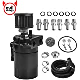 """EVIL ENERGY Polish Baffled Universal Oil Catch Can Reservoir Tank Breather Filter Kit with 3/8"""" NBR Fuel Line Aluminum…"""