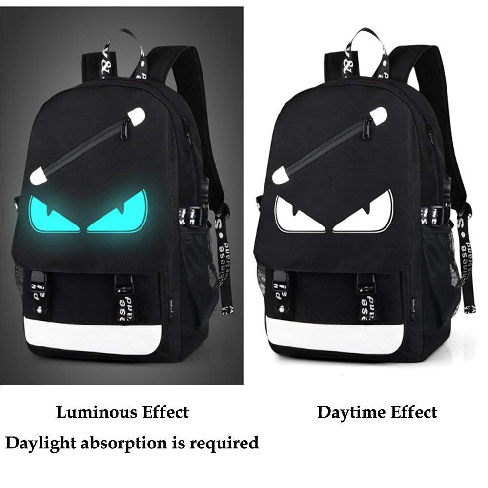 Amazon.com: XHHWZB Anime Luminous Backpack Daypack Shoulder Under 15.6-inch with USB Charging Port and Lock School Bag Black (Size : A): Office Products