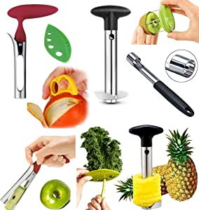 COMBO PACK - Apple Corer, Pineapple Slicer, Pear Pepper Poker, Herb Kale Stripper, Kiwi Tool, Citrus Orange Peeler SUPER SLICER Juicer Prepping PACK by Bright Kitchen
