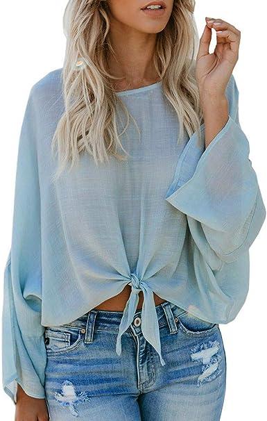 Tops - Blusa de Manga Larga para Mujer, Color Liso, Cuello Redondo, sección Delgada, para Camisa Azul Azul Claro XL: Amazon.es: Ropa y accesorios