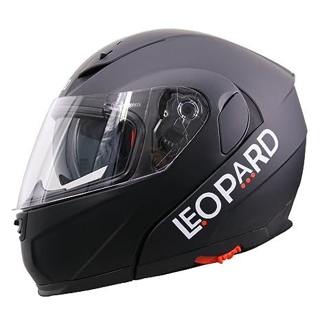 Amazon.es: Leopard LEO-838 Cascos Modulares de Moto Motocicleta ECE 22-05 Aprobado Doble Visera - Negro Mate XL (61-62cm)