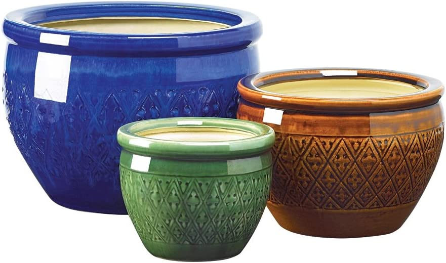 Gifts Decor Jewel Tone Flower Pot Trio Embossed Earthenware Planter