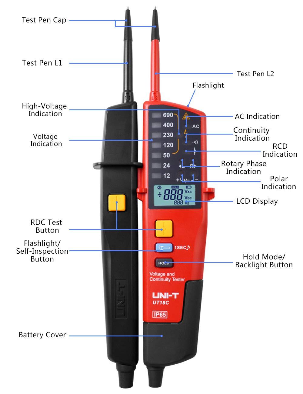 Voltage Tester Uni T Ut18c Multifunction Waterproof Digital Lcd Electrical Continuity Circuit Meter Voltmeter 12v