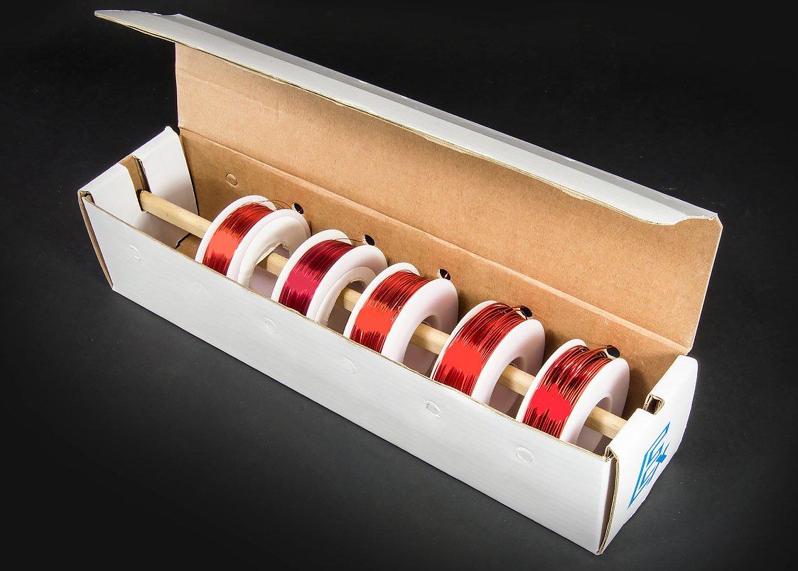 Electronix Express Varios Calibres Imá n –  Kit de alambre alambre de cobre esmaltada (5 Bobinas –  22, 24, 28, 30 y 32 AWG) 30y 32AWG)