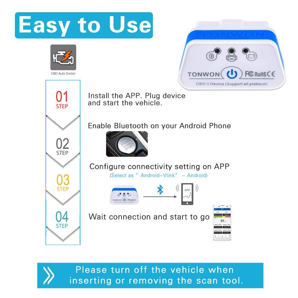 TONWON OBD2 Bluetooth ELM327 OBDII Strumento di Automatico Scansione per Android