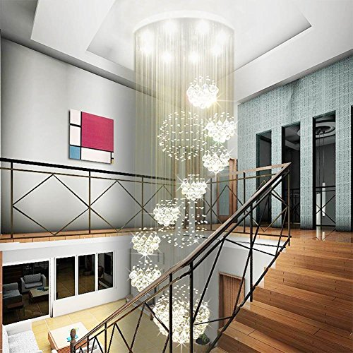 Siljoy W31.5 X H110 Modern Chandeliers Rain Drop with 11 Crystal Sphere Ceiling Light Fixture Spiral Staircase Lighting