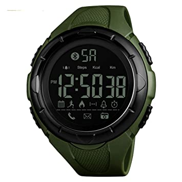 WULIFANG Smart Watch Mens Sports Reloj Digital Reloj Exterior Moda App Calorías Recordar A Reloj De