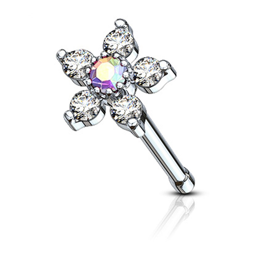 Forbidden Body Jewelry 20g Surgical Steel Nose Stud with Big Bling 6-CZ Crystal Flower, Aurora Borealis/Clear