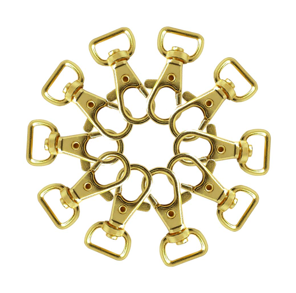 Gold Plated Swivel Clasps Lanyard Snap Hook Lobster Claw Clasp 1 1//2 x 3//4 inch Pack of 50