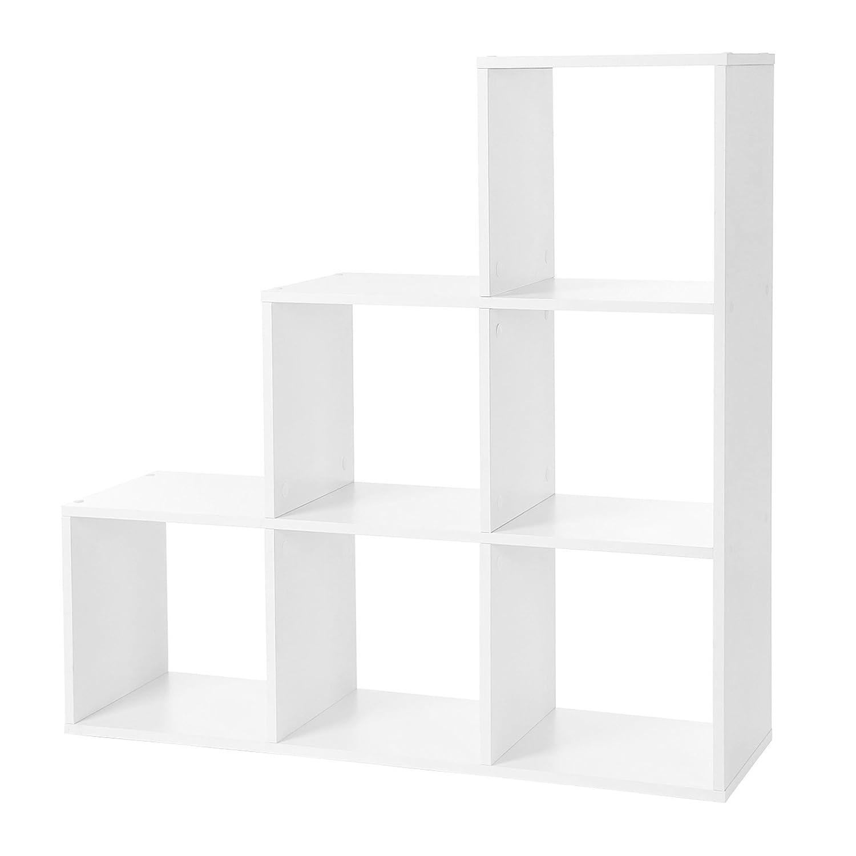 VASAGLE - Estantería para Libros, escaleras, 6 Compartimentos en Forma de Cubo, estantería de Madera, estantería Independiente, Color Blanco, LBC63WT, ...