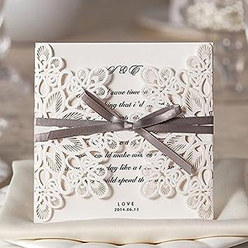 Schön Weiß Spitze Hochzeit Einladung, Mit Silberfarben Schleife U2013 Set Von 50