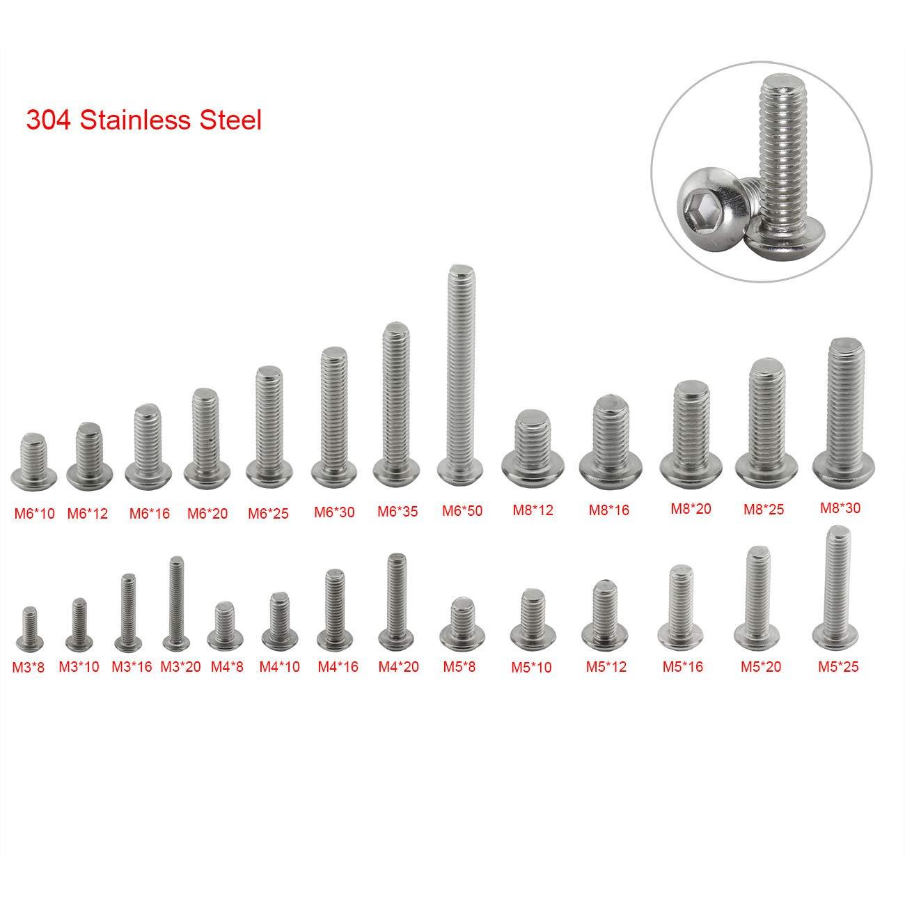 PZRT 20pcs M8 x 30mm Button Head Socket Cap Screws,304 Stainless Steel Allen Hex Button Head Screws
