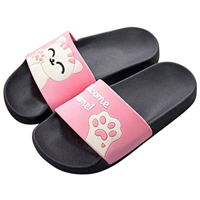 Cute Colorful Animal Cat Soft Slides for Women - Classics Anti-Slip Casual Sweet Color Flat Girl Slippers Sandals for Summer Slip-On Comfortable Shoes with Animal Print Pink   Slides