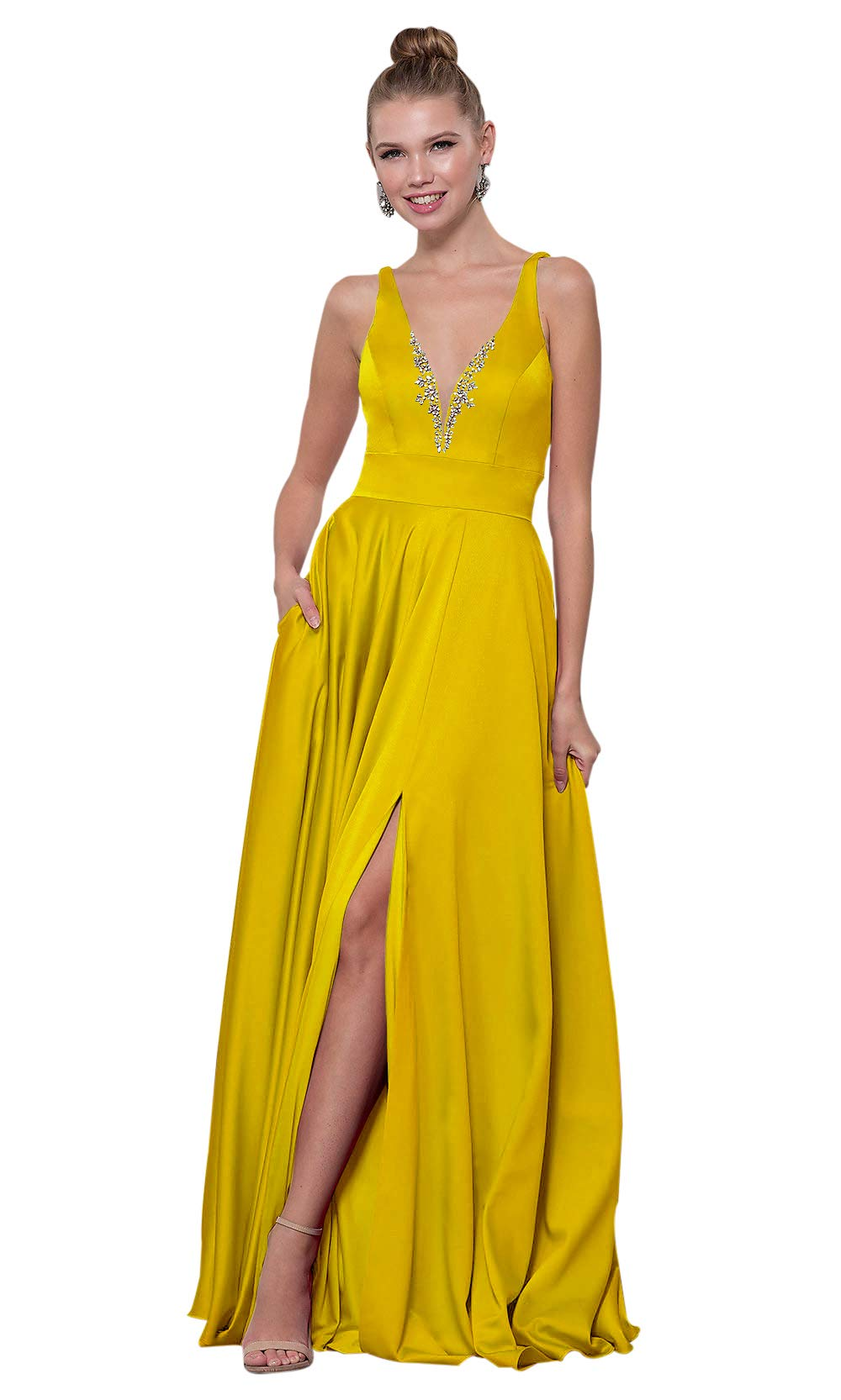 1831ae7615f2 Zhongde Women's Side Slit Beaded Satin V Neck Evening Formal Gown Long Prom  Dress with Pockets Yellow Size 16
