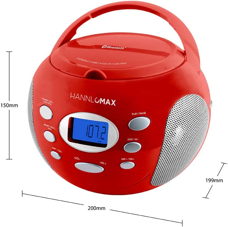 LCD Display Aux-in White Bluetooth AC//DC Dual Power Source USB Port for MP3 Playback AM//FM Radio HANNLOMAX HX-321CD Portable CD//MP3 Boombox