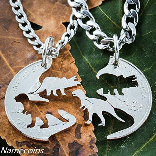 Dinosaur Jewelry, Kids Best Friends Necklaces, T-rex and Triceratops Hand Cut on a Quarter, By NameCoins (Dinosaur Best Friend Necklaces)