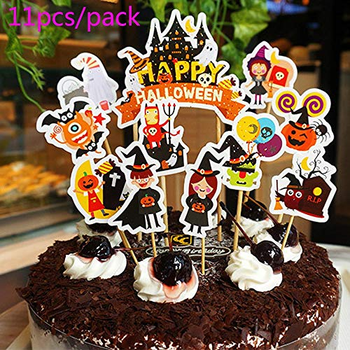 11pcs Halloween Cake Cupcake Toppers, Halloween Party Supplies Cake -