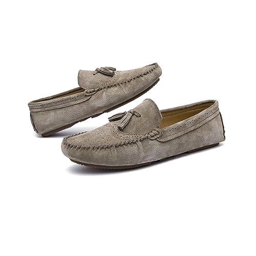 Avanlin - Mocasines de Piel para hombre Verde caqui: Amazon.es: Zapatos y complementos