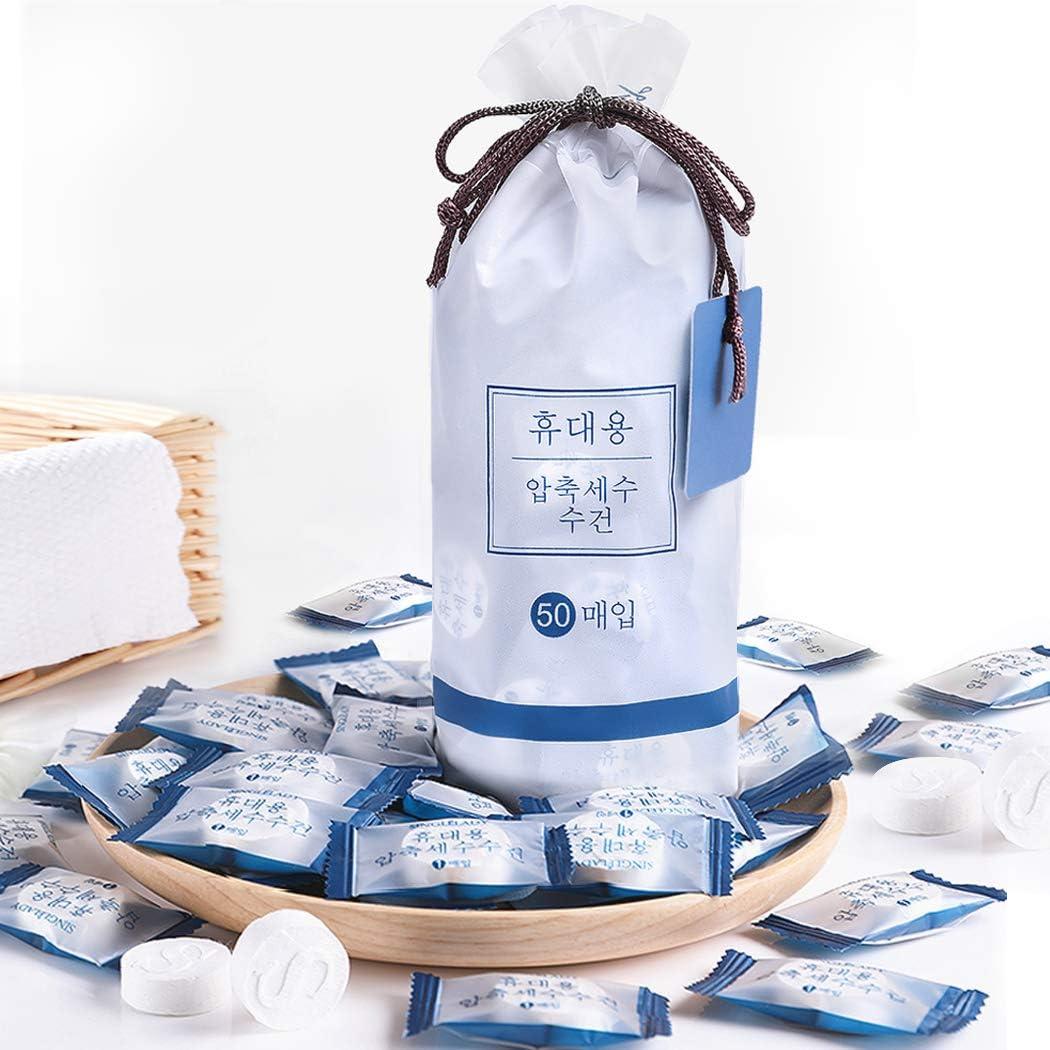 GothicBride Asciugamano Compresso 50PCS Biodegradabili Ecologiche Asciugamano di Viaggio salviettine umidificate Asciugamano Magico Pillola Asciugamano Asciugamani Compressi Magici