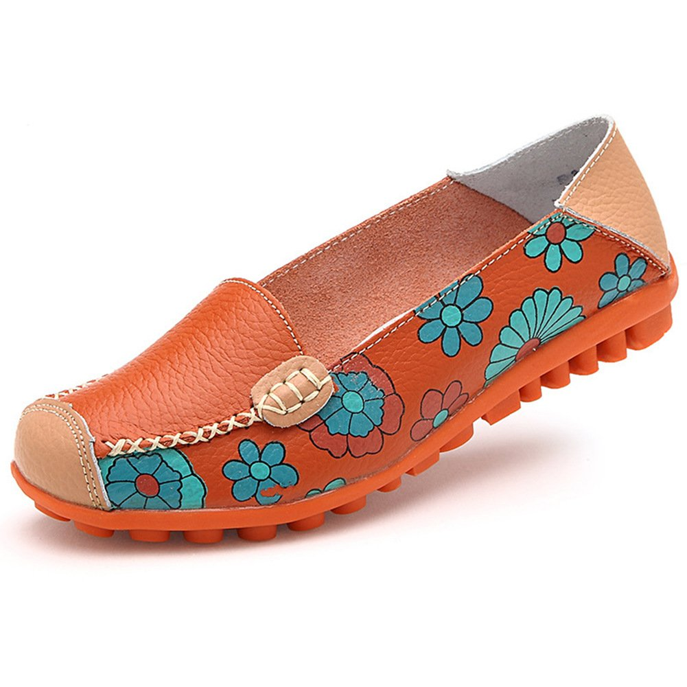 STAINLIZARD Women's Casual Slip-On Flats Moccasins Driving Leather Loafer Shoes Orange 9