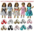 ZITA ELEMENT Doll Clothes- Lot 7=5 Daily Costumes Gown Clothes+ 2 Shoes fit for American's Girl Doll and other 18 inches XMAS GIFT- Ramdon Style