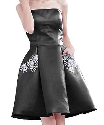 Ainidress Homecoming Dresses Short Strapless Satin Party Prom Dress