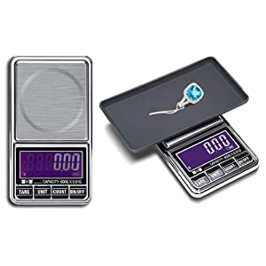 Hochoice Digital Pocket Scale,600gx0.01g Weigh Gram Digital Mini Scale,High Accuracy Portable Electronic Jewelry Scale,Food/Medicine Scale,Slim Design,6 Units, LCD Display,Auto Off,Stainless Steel